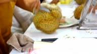 hand cut Durian in market video