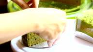 hand cut green tea cake video