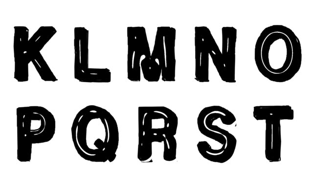 Hand drawn animated font in a thick marker pen style video