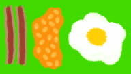 Hand Drawn Cartoon Breakfast of Fried Egg Bacon and Beans on a green screen Background video