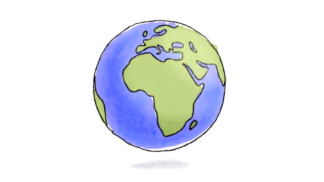 Hand drawn Earth spinning video