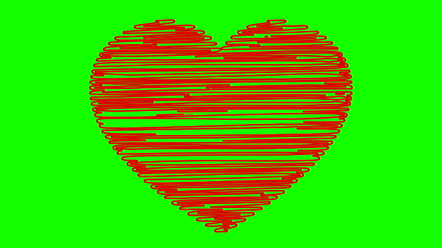 Hand drawn heart on a green background video