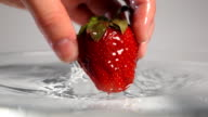 Hand dropping out strawberry into water video