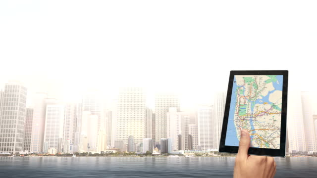 Hand Holding A Navigation Device City Map On The Screen video