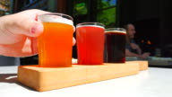 Hand Holding Beer Sample Glass, Craft Brewery, 3 Various Types video