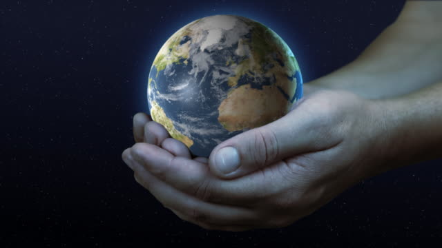 Hand holding planet earth 02 video