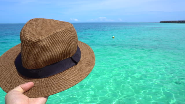 Hand holding vacation panama hat with paradise  view video