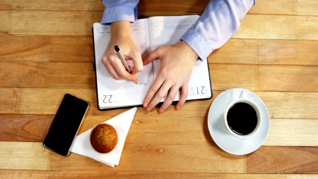 Hand of businesswoman writing on diary with cupcake, coffee and mobile phone on table video
