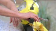 Hand on motorcycle steering wheel. video