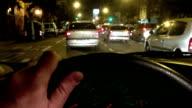 Hand on steering wheel - Night video