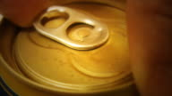 Hand opening can Close-up beer alcoholic drink video