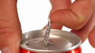Hand opening can, on white, slow motion video