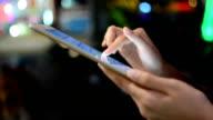 Hand pressing on screen digital tablet. video