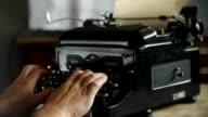 Hand printing on old typewriter video