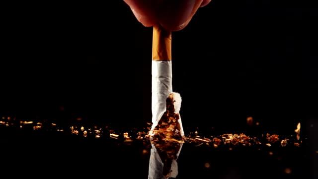 Hand squashing a cigarette video