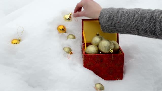 hand take glossy christmas toys winter snow retro box video