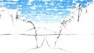 hand-drawn impressionist landscape video
