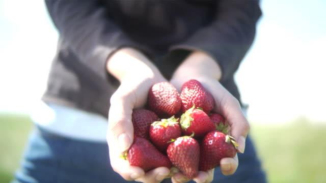 Handful of strawberries video