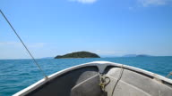Hand-held Shot: Fishing Boat Heading to the Islands video