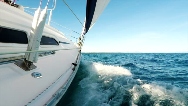 HD Handheld, Steady Ghimbal: Shot of Sailing Boat Leaning video