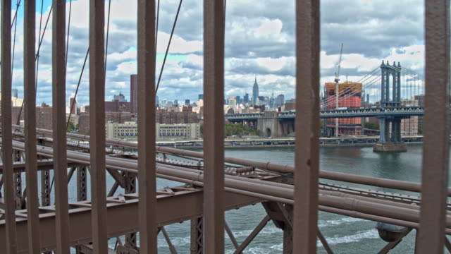 Handheld video from Brooklyn bridge looking over Manhattan video