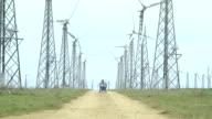 Handicapped Man At Wind Turbines Farm video
