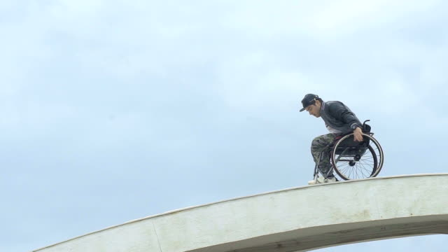Handicapped Man Trying To Keep His Balance video