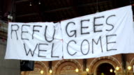 Handmade Banner Refugees Welcome video