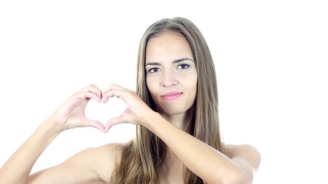 Handmade Heart Sign by Young Woman, White Background video