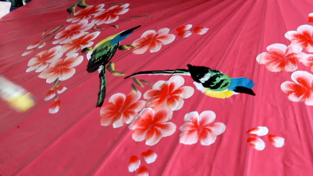 Handmade Thai style umbrella painting, Chiang Mai,Thailand video