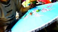 Handmade Thai style umbrella painting video
