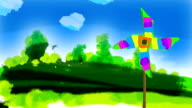 Hand-painted field spring scenery. video