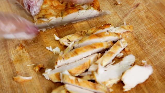 hands cut fried chicken steak video