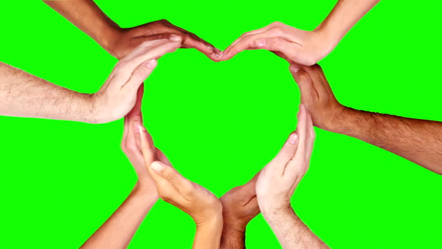 Hands forming a heart. Green Screen. Loopable f111/f338. Valentine's Day. video
