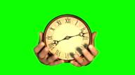 Hands holding a clock. Greenscreen. video