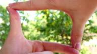 Hands Join Together To Make Finger Framing video