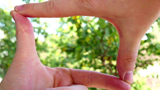 Hands Join Together To Make Finger Framing video