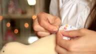 Hands needlewoman video