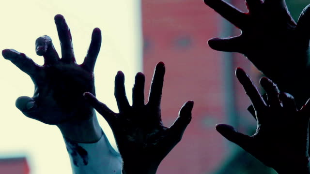 Hands of evil creatures making scary gestures in air, frightful video