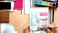 Hands of interior designer working video