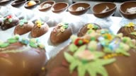 hands pastry chef working chocolate Easter eggs video