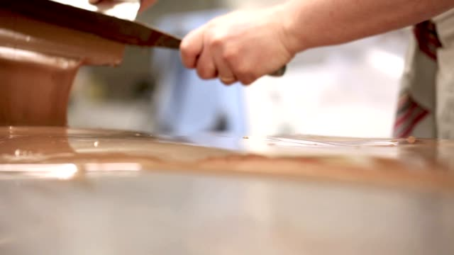 hands pastry chef working chocolate video