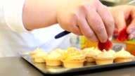hands pastry prepare cream fruit sweets video