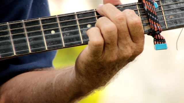 Hands Playing Guitar Strings video