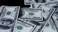 hands quickly take Hundred dollar bills video