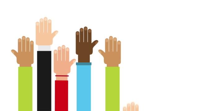 Hands raised design, Video animation video
