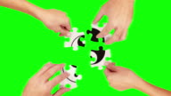 Hands solving a puzzle. Green Screen and Wood. Ying Yang. video