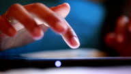 Hands using digital tablet computer video
