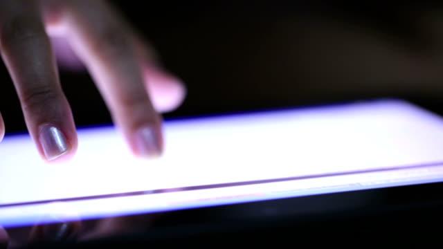 Hands using digital tablet computer video