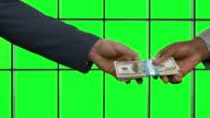 Handshake on green hromakey. video